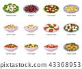 Salad vector healthy food with fresh vegetables tomato or potato in salad-bowl or salad-dish for 43368953