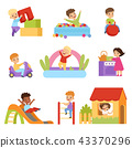 Kids having fun at playground set, boys and girls playing with toys, sliding down slide, climbing 43370296