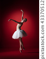 Ballerina. Young graceful female ballet dancer dancing at red studioskill. Beauty of classic ballet. 43370512