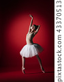 Ballerina. Young graceful female ballet dancer dancing at red studioskill. Beauty of classic ballet. 43370513