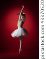 Ballerina. Young graceful female ballet dancer dancing at red studioskill. Beauty of classic ballet. 43370520