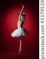 Ballerina. Young graceful female ballet dancer dancing at red studioskill. Beauty of classic ballet. 43370520