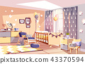 Nursery baby room interior vector illustration 43370594