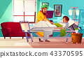Hospital ward Indian patient vector illustration 43370595