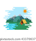 Summer Camp, Landscape Forrest with Yellow Tent 43370637