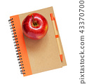 Notebook, pen and apple 43370700