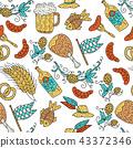 Doodle hand drawn Octoberfest seamless pattern. 43372346
