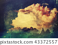Grunge textured thunderhead cloud at sunset 43372557