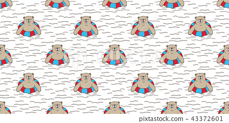 Bear seamless pattern vector polar bear swimming 43372601