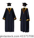 Graduation clothing, gown and cap vector 43373708