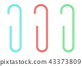 Set of colorful paper clips isolated on white background for off 43373809