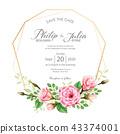 การ์ดเชิญงานแต่งงานดอกไม้ลายดอกไม้การ์ดแต่งงาน ภาพวาดสีน้ำ 43374001