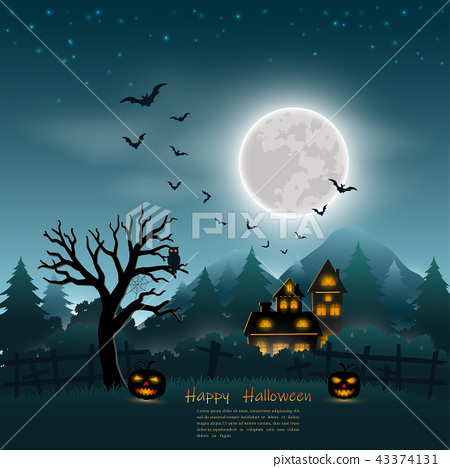 Halloween poster on dark blue background 43374131