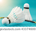 huttlecock and badminton racket on blue background 43374600