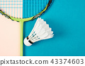 shuttlecock and badminton racket. 43374603