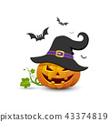 Pumpkin wear black hats and bat ,Happy Halloween 43374819