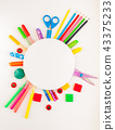 Round frame. Stationery on the white background. 43375233