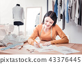 Talented dressmaker drawing bright clothes sketches 43376445