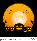 Halloween full moon night and mystery background.  43376555