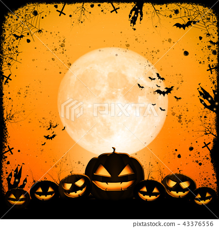 Halloween full moon night and mystery background.  43376556