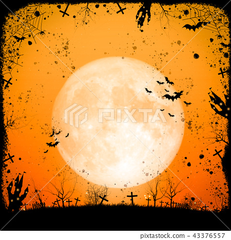 Halloween full moon night and mystery background.  43376557
