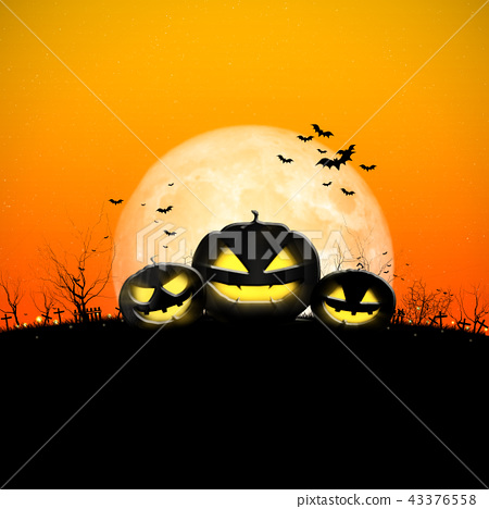 Halloween full moon night and mystery background.  43376558