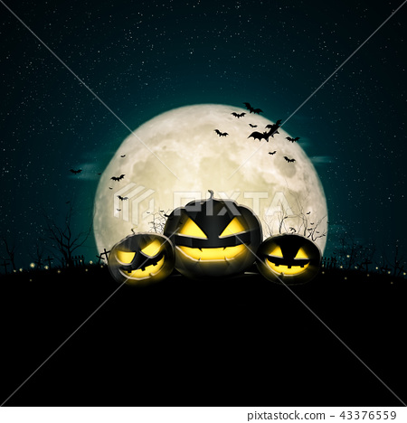 Halloween full moon night and mystery background.  43376559