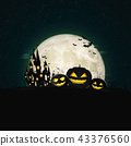 Halloween full moon night and mystery background.  43376560
