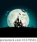 Halloween full moon night and mystery background.  43376561