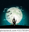 Halloween full moon night and mystery background.  43376564
