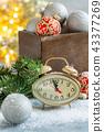 Christmas card with clock and Christmas decor. 43377269