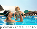 Happy family having fun by the swimming pool 43377372