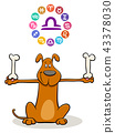 Libra Zodiac sign with cartoon dog 43378030