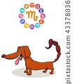 Scorpio Zodiac sign with cartoon dog 43378036