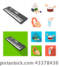 Synthesizer melodies, bagpipes Scotch and other web icon in cartoon,flat style. drum, drum roll 43378436