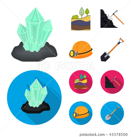 Crystals, coal seam, pickaxe, helmet with a lantern.Mine set collection icons in cartoon,flat style 43378500