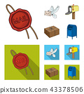 Wax seal, postal pigeon with envelope, mail box and parcel.Mail and postman set collection icons in 43378506