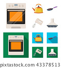 Kitchen equipment cartoon,flat icons in set collection for design. Kitchen and accessories vector 43378513