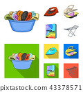 A bowl with laundry, iron, ironing press, washing powder. Dry cleaning set collection icons in 43378571