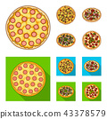 Pizza with meat, cheese and other filling. Different pizza set collection icons in cartoon,flat 43378579