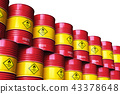 Group of red stacked oil drums isolated on white 43378648