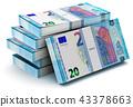 Stacks of 20 Euro banknotes 43378663