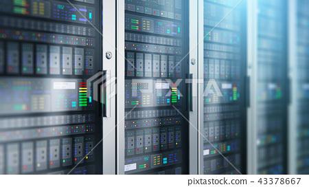 Server room interior in datacenter 43378667