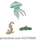 A variety of marine animals cartoon icons in set collection for design. Fish and shellfish vector 43379068