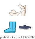 Different shoes cartoon icons in set collection for design. Men and women shoes vector symbol stock 43379092