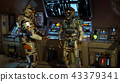 Two soldiers of the future arguing on a spaceship. 3D Rendering 43379341
