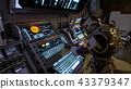 Astronaut of the future presses the keys on sci-fi screen. Realistic motion background. 3D Rendering 43379347
