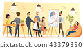 People Working in Coworking Office Cartoon Vector 43379350