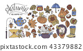 Big autumn icon set. Cozy fall hand drawn vector illustration. 43379882