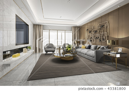 loft luxury living room with bookshelf 43381800